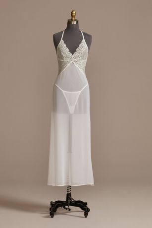 Plunging Lace and Chiffon Halter Chemise