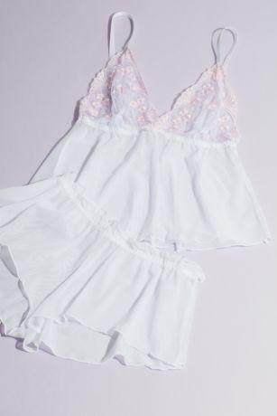 Mesh Baby Doll Cami and Shorts Set