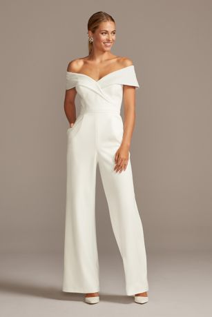Long Jumpsuit Off the Shoulder Dress - David's Bridal