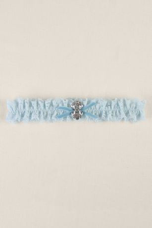 Blue Ruffled Lace Garter with Butterfly Brooch