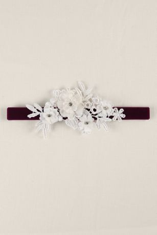 Velvet Elastic Garter with Ivory Applique