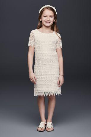 Allover Lace Flower Girl Shift Dress