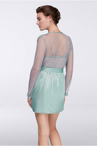 Short seafoam silky robe with sheer sleeves and back