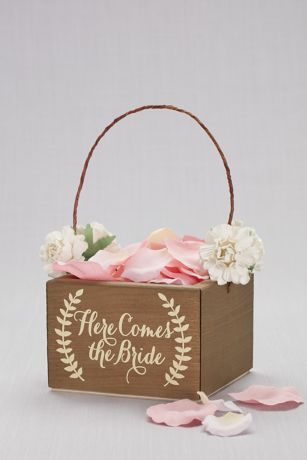 a139f496e57 Here Comes the Bride Wooden Flower Girl Basket