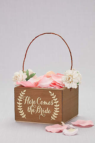 Here Comes The Bride Wooden Flower Basket