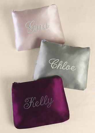 Personalized Embroidered Satin Cosmetic Bag