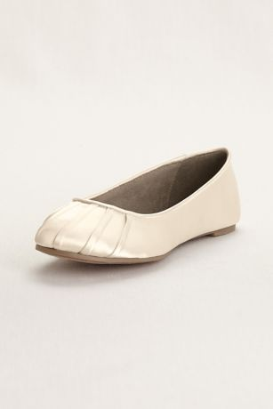 David's Bridal Ivory Ballet Flats (Pleated Toe Dyeable Satin Ballet Flat)