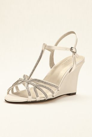David's Bridal Black;Blue;Grey;Ivory;Pink;Purple;Red;White Heeled Sandals (Crystal T-Strap Satin Dyeable Wedge)