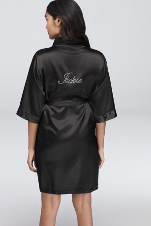 Personalized Rhinestone Bridesmaid Name Satin Robe