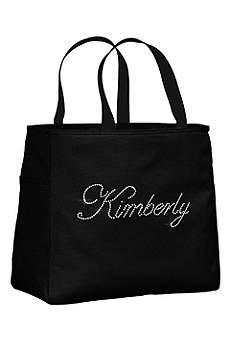 Personalized Rhinestone Script Name Tote Bag