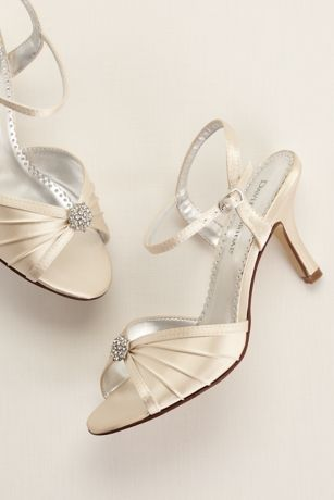 David's Bridal Ivory Heeled Sandals (Satin Dyeable Pleated Sandal with Ornament)
