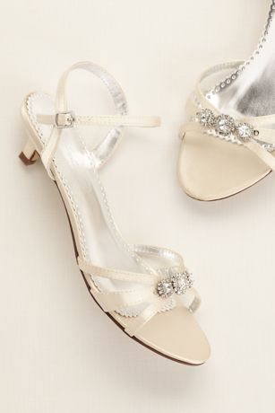 David's Bridal White Heeled Sandals (Dyeable Satin Low Heel Sandal with Rhinestones)