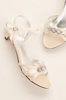 David's Bridal Black Sandals (Dyeable Satin Low Heel Sandal with Rhinestones)