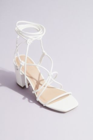 Bamboo Beige;White Heeled Sandals (Strappy Ankle Tie Block Heel Sandal)