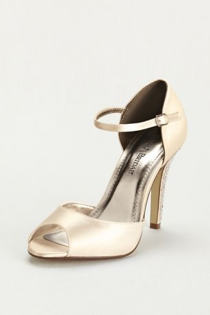 David's Bridal White Peep Toe Shoes (Dyeable Sandal with Crystal Encrusted Heel)