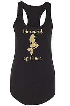 Mermaid of Honor Gold Glitter Racerback Tank Top