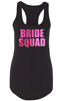 Metallic Print Bride Squad Racerback Tank Top