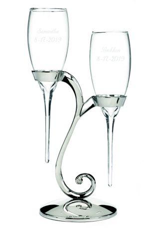 Personalized Elegant Raindrop Toasting Flutes