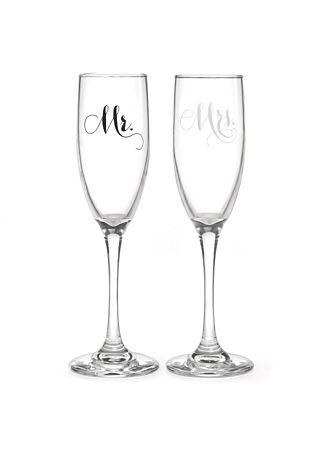 Mr and Mrs Elegant Toasting Flute Set