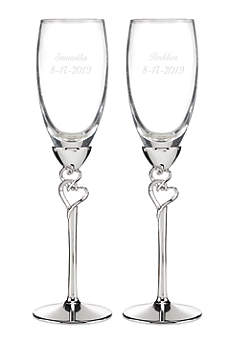 Personalized Entwined Hearts Flutes