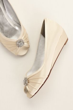Dyeable Wedge Peep Toe with Rhinestone Ornaments