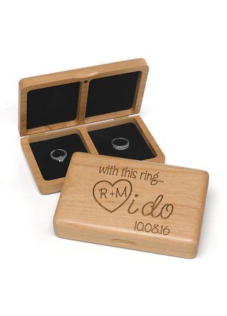 Captivating Personalized I Do Wooden Ring Box   Wedding Gifts U0026 Decorations