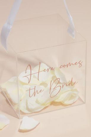 Acrylic Here Comes The Bride Basket with Ribbon
