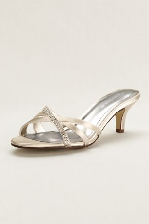Crystal Embellished Dyeable Low Heel Sandal
