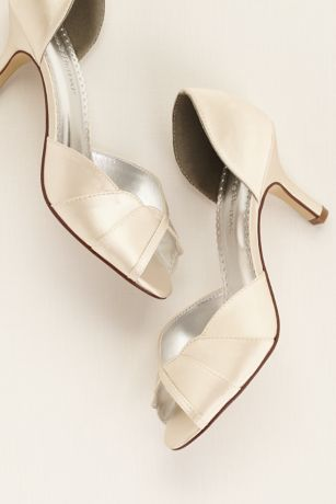 Satin Dyeable Peep Toe Heel with Scalloped Edge