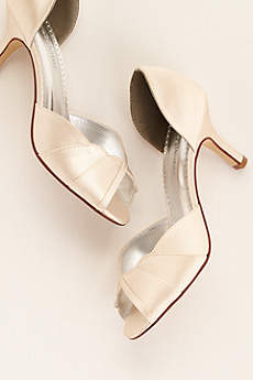 David's Bridal Ivory Pumps (Satin Dyeable Peep Toe Heel with Scalloped Edge)