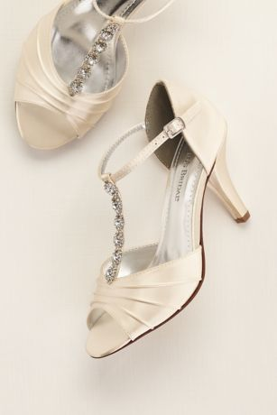 David's Bridal Ivory Heeled Sandals (Dyeable Satin Mid Heel Crystal T Strap Sandal)