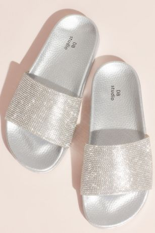 David's Bridal Grey;Pink Flat Sandals (Metallic Crystal Slide Sandals with Footbed)