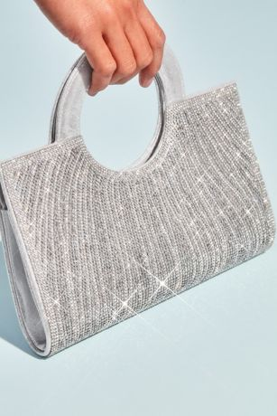 Crystal Embellished Clutch with Circle Handles