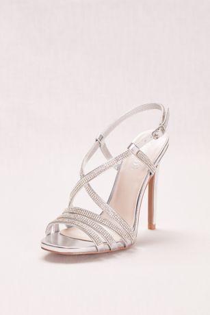 Strappy Crystal Embellished High Heel Sandals David S Bridal