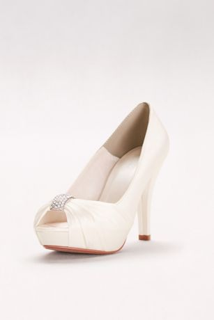 David's Bridal Ivory Peep Toe Shoes (Charmeuse Pleated Peep Toe with Crystal Ornament)
