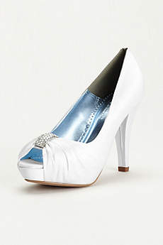 David's Bridal Black Peep Toe Shoes (Pleated Peep Toe with Crystal Ornament)