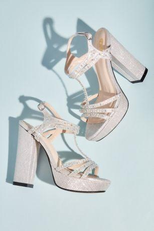 Benjamin Walk Grey;Ivory Heeled Sandals (Platform Block Heel Sandals with Crystal T-Strap)