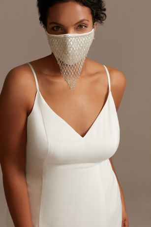 Dangling Rhinestone Face Mask Cover