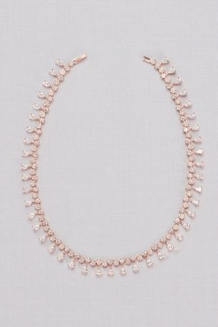 Cubic Zirconia Pear Fringe Collar Necklace