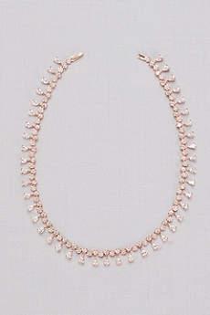 Cubic Zirconia Pear Fringe Collar Necklace