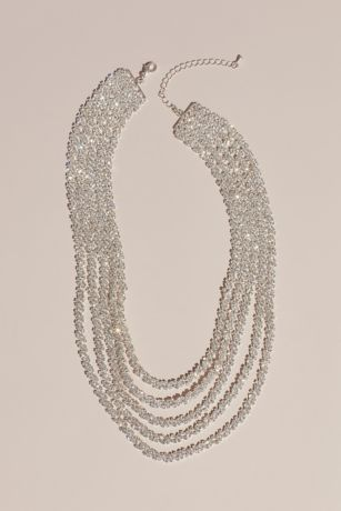 Dangling Crystal Chains Layered Necklace