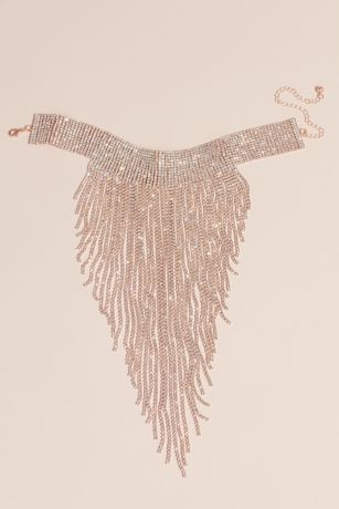 Allover AB Crystal Choker with Plunging Fringe