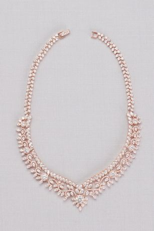 Cubic Zirconia Leaf and Vine Collar Necklace