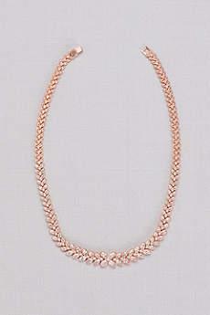 Cubic Zirconia Linear Leaf Necklace