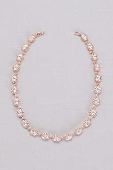 Cubic Zirconia Pave Halo Link Necklace