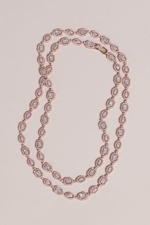 Crystal Halo Baguette and Oval Strand Necklace