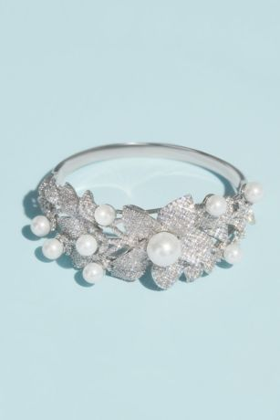 Crystal Floral Bracelet with Pearl Embellishments