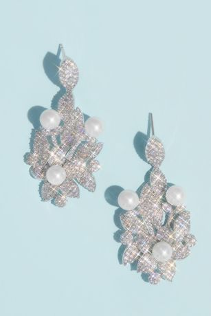 Crystal Floral Earrings with Pearl Embellishments