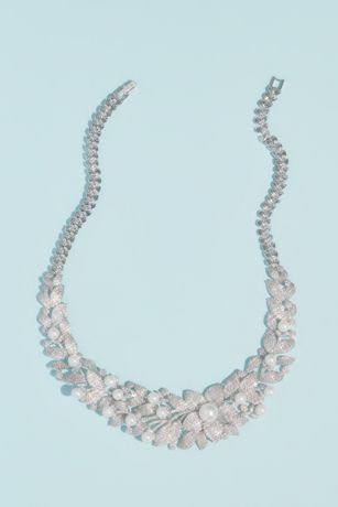 Crystal Floral Necklace with Pearl Embellishments