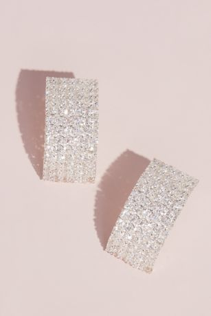 Stacked Crystal Cuff Stud Earrings